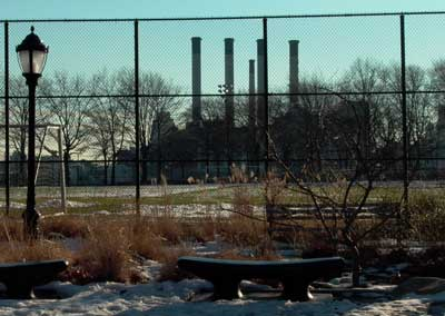 East River Park and smokestacks. Photo by Pat Arnow