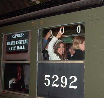 Miss Subways rides a vintage train at the 100th anniversary of the New York City Subway Oct. 27, 2004.  Photo by Pat Arnow