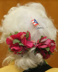 "In the audience at a City Council hearing. Besides the flowers and Puerto Rican flag in her hair, around front she's wearing many buttons including ones that say, ""Granny Brigade,"" ""Is It Fascism Yet?"" ""Not My President""... (Arnow photo)"