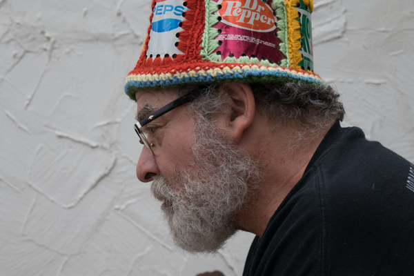 Marc Ringel collects crocheted items that are made to be useful including this hat.