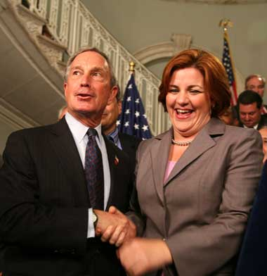 TOO CLOSE FOR COMFORT?: Several union leaders last week accused City Council Speaker Christine Quinn (right) of doing Mayor Bloomberg's bidding when she stymied efforts to gain home-rule messages that were needed for key bills to be acted on in Albany. (Arnow photo)