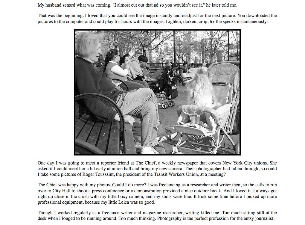 Pixel Dust and Me, the story of becoming a New York City Photographer, by Pat Arnow, published in the Grand Street News.
