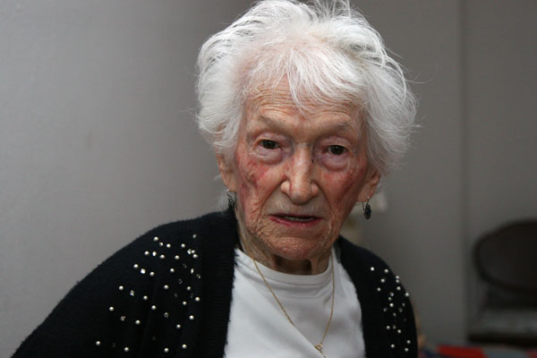 Gimlet-eyed Sadie Gelfand lives alone on the Lower East Side at age 103. Photo by Pat Arnow.