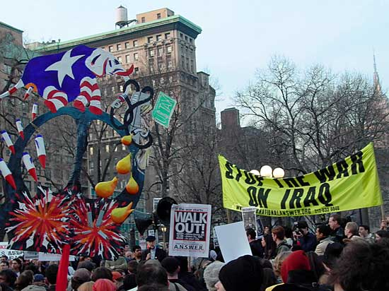 Elephant pooping missiles in antiwar demonstration in Union Square, New York, March 2003, photo by Pat Arnow