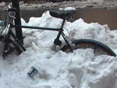 Bike in the snowbank, coffee on the side, 02.03.  Photo by Pat Arnow