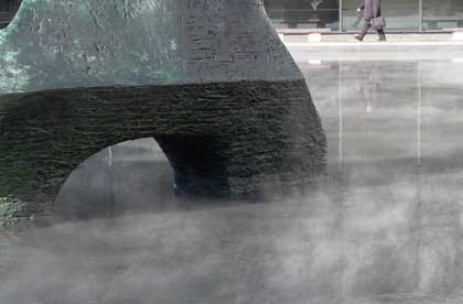 Lincoln Center sculpture and pool letting off steam, photo by Pat Arnow